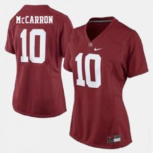 Alabama #10 Women A.J. McCarron Jersey Red University College Football 327264-686