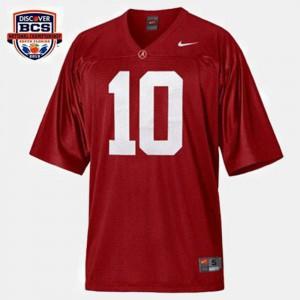 Alabama Crimson Tide #10 For Men's A.J. McCarron Jersey Red College Football Alumni 606392-737