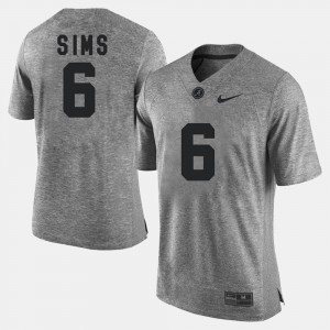 Alabama Crimson Tide #6 For Men's Blake Sims Jersey Gray Stitch Gridiron Limited Gridiron Gray Limited 229791-246
