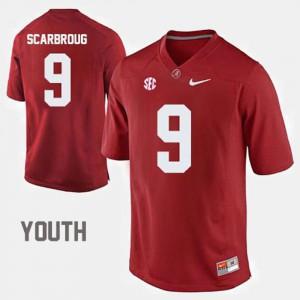 Bama #9 Kids Bo Scarbrough Jersey Crimson Embroidery College Football 133114-407