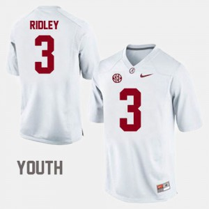 Bama #3 For Kids Calvin Ridley Jersey White NCAA College Football 658246-783