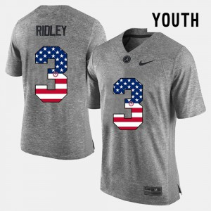 Bama #3 For Kids Calvin Ridley Jersey Gray Official US Flag Fashion 904709-966