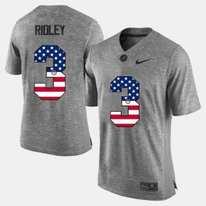 Alabama Roll Tide #3 Mens Calvin Ridley Jersey Gray Embroidery US Flag Fashion 182440-674