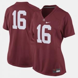 Alabama Crimson Tide #16 Womens Jersey Crimson High School College Football 134624-854