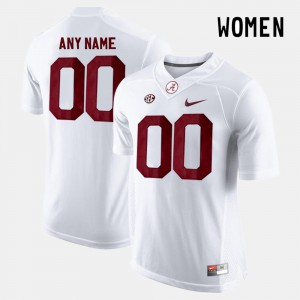 Bama #00 Ladies Customized Jersey White Player College Limited Football 171968-894