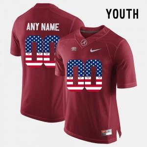 Alabama Crimson Tide #00 Kids Customized Jersey Crimson US Flag Fashion NCAA 761920-660