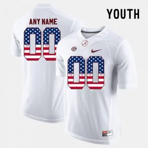 Alabama #00 Youth(Kids) Custom Jersey White Stitch US Flag Fashion 611847-484