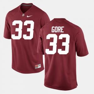 Alabama Crimson Tide #33 For Men's Derrick Gore Jersey Crimson NCAA Alumni Football Game 994032-493