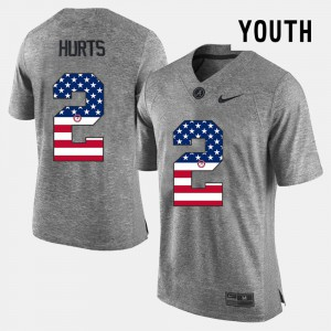 Bama #2 For Kids Jalen Hurts Jersey Gray Official US Flag Fashion 333712-877