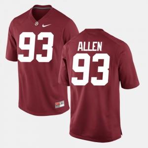 Alabama #93 Men Jonathan Allen Jersey Crimson Embroidery Alumni Football Game 443215-268