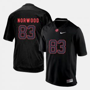 Alabama #83 Men's Kevin Norwood Jersey Black Stitch Silhouette College 726107-662