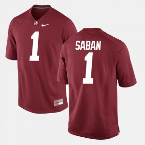 Alabama #1 For Men's Nick Saban Jersey Crimson University Alumni Football Game 276362-616