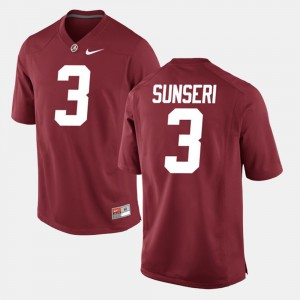 Alabama Crimson Tide #3 For Men Vinnie Sunseri Jersey Crimson Official Alumni Football Game 583308-651