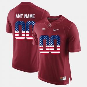 Alabama Crimson Tide #00 For Men Custom Jerseys Crimson Stitched US Flag Fashion 603864-343