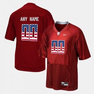 Alabama Crimson Tide #00 For Men's Custom Jersey Red US Flag Fashion Player 281963-625