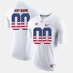 Bama #00 For Men Custom Jersey White Stitched US Flag Fashion 570999-555