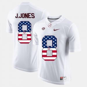 Bama #8 Men Julio Jones Jersey White NCAA US Flag Fashion 261199-496