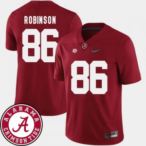 Alabama Roll Tide #86 For Men's A'Shawn Robinson Jersey Crimson University College Football 2018 SEC Patch 862272-733