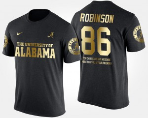 Alabama Roll Tide #86 Men's A'Shawn Robinson T-Shirt Black Stitch Gold Limited Short Sleeve With Message 637458-416