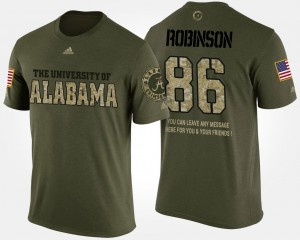 Alabama #86 For Men's A'Shawn Robinson T-Shirt Camo NCAA Short Sleeve With Message Military 938630-873