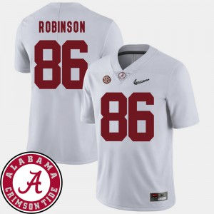 University of Alabama #86 Men A'Shawn Robinson Jersey White University College Football 2018 SEC Patch 828225-912
