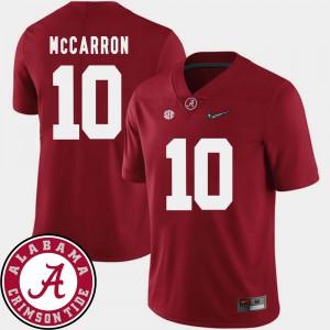 Bama #10 Mens AJ McCarron Jersey Crimson NCAA 2018 SEC Patch College Football 436972-723