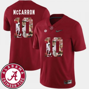 Roll Tide #10 Mens AJ McCarron Jersey Crimson High School Football Pictorial Fashion 908272-826