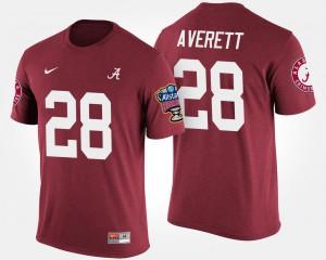 University of Alabama #28 Men Anthony Averett T-Shirt Crimson Stitched Sugar Bowl Bowl Game 624772-564