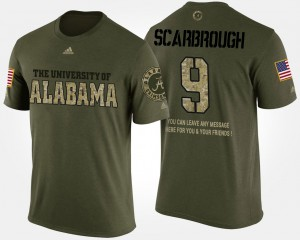 Bama #9 Mens Bo Scarbrough T-Shirt Camo Short Sleeve With Message Military High School 442552-958