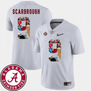 Roll Tide #9 For Men's Bo Scarbrough Jersey White Stitch Pictorial Fashion Football 303354-588