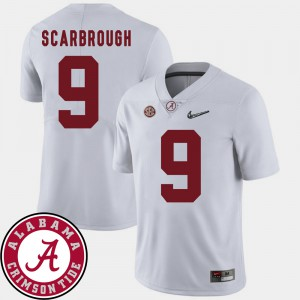 Alabama #9 For Men's Bo Scarbrough Jersey White Player College Football 2018 SEC Patch 203373-717