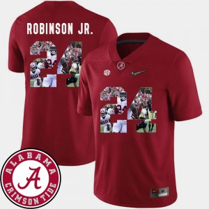 Alabama #24 Men's Brian Robinson Jr. Jersey Crimson NCAA Pictorial Fashion Football 459924-570