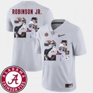 Bama #24 Men Brian Robinson Jr. Jersey White Football Pictorial Fashion NCAA 302411-642