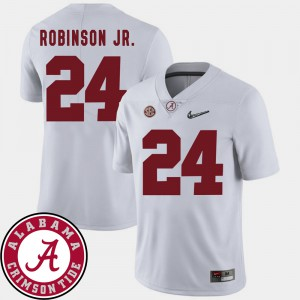 Alabama Crimson Tide #24 For Men's Brian Robinson Jr. Jersey White High School 2018 SEC Patch College Football 735693-231