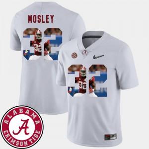 Alabama Roll Tide #32 Men C.J. Mosley Jersey White Football Pictorial Fashion Player 769590-115
