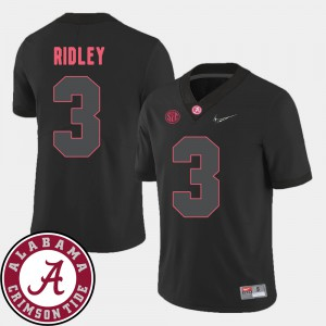 Alabama Roll Tide #3 Mens Calvin Ridley Jersey Black Embroidery College Football 2018 SEC Patch 639282-355