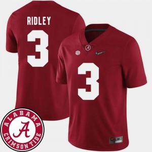 Alabama Crimson Tide #3 Men Calvin Ridley Jersey Crimson Stitch College Football 2018 SEC Patch 396505-778