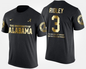 Roll Tide #3 Men's Calvin Ridley T-Shirt Black Short Sleeve With Message Gold Limited Stitched 190391-283