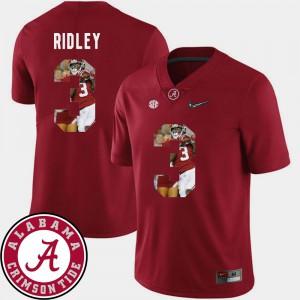 Bama #3 Men's Calvin Ridley Jersey Crimson Stitch Football Pictorial Fashion 482988-622
