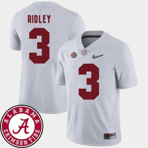 Alabama Roll Tide #3 For Men Calvin Ridley Jersey White 2018 SEC Patch College Football Embroidery 211591-981