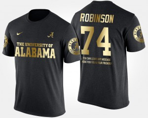 Alabama #74 For Men's Cam Robinson T-Shirt Black Player Short Sleeve With Message Gold Limited 600657-507