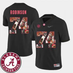 University of Alabama #74 Men's Cam Robinson Jersey Black Stitch Football Pictorial Fashion 466447-740