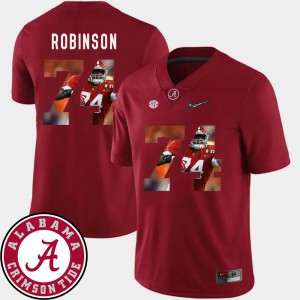 Alabama Roll Tide #74 Mens Cam Robinson Jersey Crimson Football Pictorial Fashion Alumni 687972-252