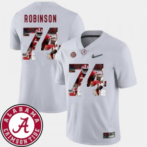 Bama #74 For Men Cam Robinson Jersey White Football Pictorial Fashion Official 676511-457
