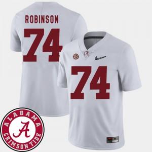 Alabama Crimson Tide #74 Mens Cam Robinson Jersey White Alumni College Football 2018 SEC Patch 575178-280