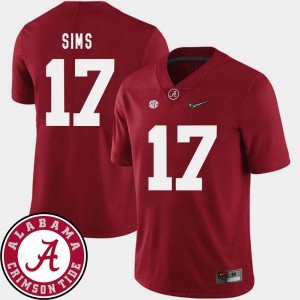 University of Alabama #17 Men's Cam Sims Jersey Crimson NCAA 2018 SEC Patch College Football 357474-824