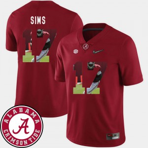 Bama #17 For Men Cam Sims Jersey Crimson Stitched Pictorial Fashion Football 897163-463