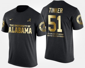Bama #51 Mens Carson Tinker T-Shirt Black College Gold Limited Short Sleeve With Message 514892-876