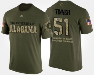 Bama #51 Men's Carson Tinker T-Shirt Camo Official Military Short Sleeve With Message 568660-816