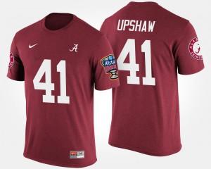 Alabama Roll Tide #41 Men Courtney Upshaw T-Shirt Crimson Embroidery Bowl Game Sugar Bowl 460410-591